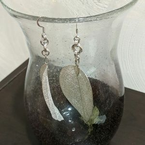 14519-1 Silver Colored Leaf Earrings